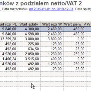Zestawienie SQL Różnice kursowe od rozr. z VAT